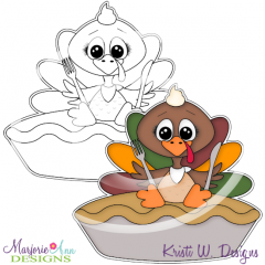 Turkey & Pie Digital Stamp + Clipart