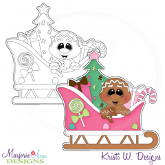 Christmas Ginger & Sleigh Digital Stamp + Clipart