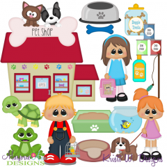 Winter Village~Pet Shop SVG Cutting Files + Clipart