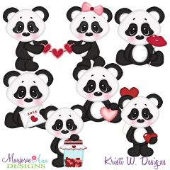 XOXO Panda SVG Cutting Files Includes Clipart