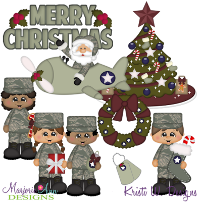 Airforce Christmas SVG Cutting Files Includes Clipart