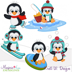 Winter Fun Penguins SVG Cutting Files + Clipart