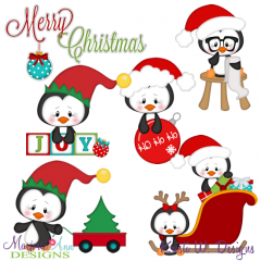 Christmas Penguins 2 SVG Cutting Files Includes Clipart