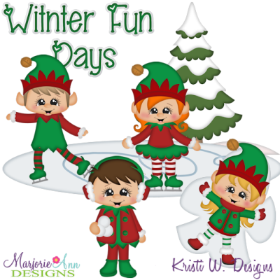 Winter Fun Elves SVG Cutting Files + Clipart
