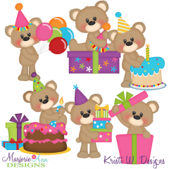 Brighton Bear-Birthday Bash Exclusive SVG Cutting Files +Clipart