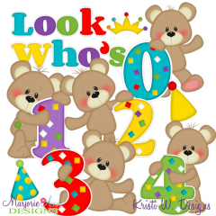 Patches The Bear Birthday Numbers 0-4 SVG Cutting Files+Clipart