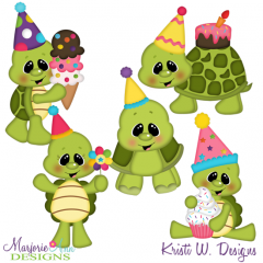 Birthday Turtles SVG Cutting Files Includes Clipart