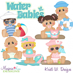 Water Babies SVG Cutting Files Includes Clipart