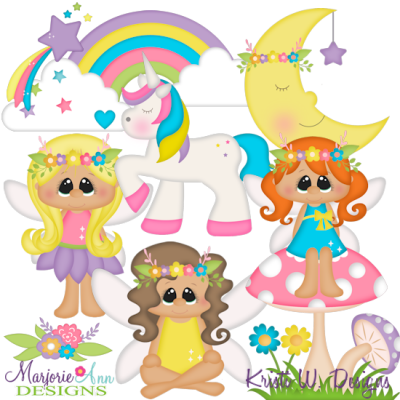 Rainbows and Fairies SVG Cutting Files + Clipart