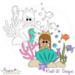 Little Mermaid Digital Stamp + Clipart