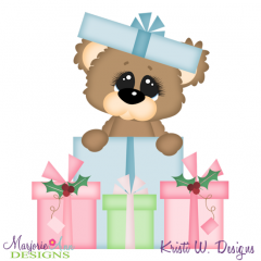 Christmas Presents Bear SVG Cutting Files Includes Clipart