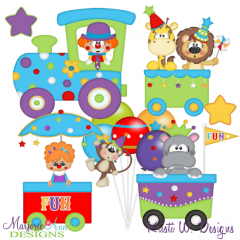 Big Top Party Train SVG Cutting Files + Clipart