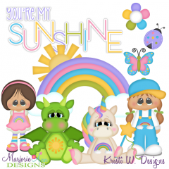 Sunshine & Rainbows SVG Cutting Files Includes Clipart