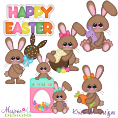 Chocolate Bunnies SVG Cutting Files Includes Clipart