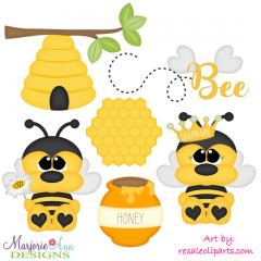 Honeybees Exclusive SVG Cutting Files + Clipart