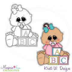 Baby Girl & Blocks Exclusive Digital Stamp + Clipart