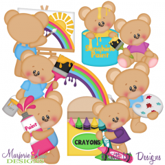 You Color My World Bears SVG Cutting Files + Clipart