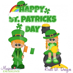 Holiday Kids~St Patricks Day SVG Cutting Files Includes Clipart