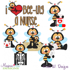 I Love Bee-ing A Nurse SVG Cutting Files + Clipart