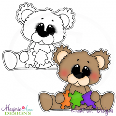 Autism Bear 2 Digital Stamp + Clipart