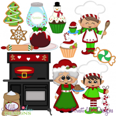 Mrs Clause Kitchen SVG Cutting Files Includes Clipart
