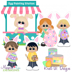 Egg Painting SVG Cutting Files + Clipart