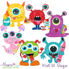 School Monsters SVG Cutting Files Includes Clipart
