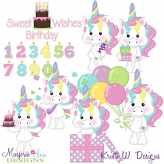 Magical Unicorns Birthday Exclusive SVG Cutting Files + Clipart