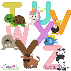 Animal Alphabet T-Z SVG Cutting Files Includes Clipart