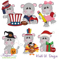 Calendar Hippos-Set 2-July-Dec SVG Cutting Files + Clipart