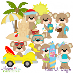 Beach Life-Bears SVG Exclusive Cutting Files + Clipart