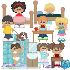 Daily Routine Kids SVG Cutting Files + Clipart