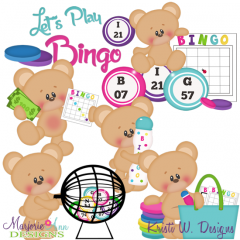 Let's Play Bingo SVG Cutting Files Includes Clipart