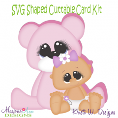 Baby Girl & Bear~Shaped SVG/MTC Card Kit/Cutting File