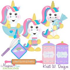 Unicorn Bakers SVG Cutting Files + Clipart