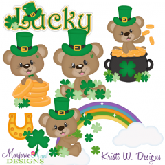 Lucky Bears SVG Cutting Files Includes Clipart