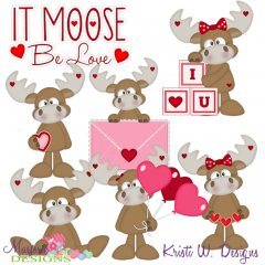It Moose Be Love SVG Cutting Files + Clipart