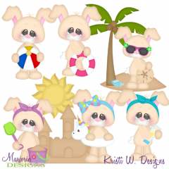 Beach Bunnies SVG Cutting Files + Clipart