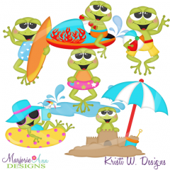Beach Frogs SVG Cutting Files Includes Clipart