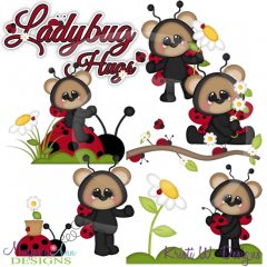 Ladybug Hugs SVG Cutting Files Includes Clipart