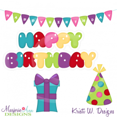 Birthday Titles & Elements Cutting Files-Includes Clipart