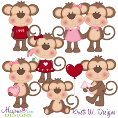 Love Monkey's SVG Cutting Files Includes Clipart