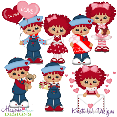 Sweetheart Raggedies SVG Cutting Files + Clipart