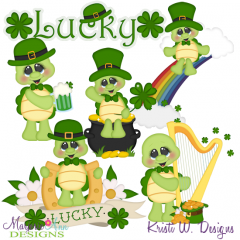 St Patricks Day Turtles SVG Cutting Files + Clipart