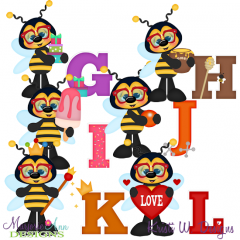 Busy Bees Alphaet G-L SVG Cutting Files + Clipart