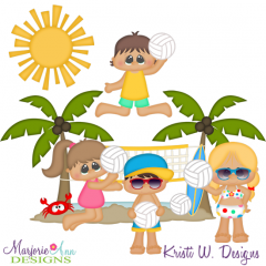 Beach Volleyball SVG Cutting Files + Clipart