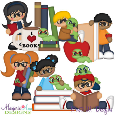 Bookworm SVG Cutting Files + Clipart