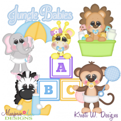 Jungle Babies SVG Cutting Files + Clipart