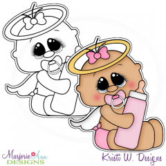 Our Little Angel~Girl Digital Stamp + Clipart