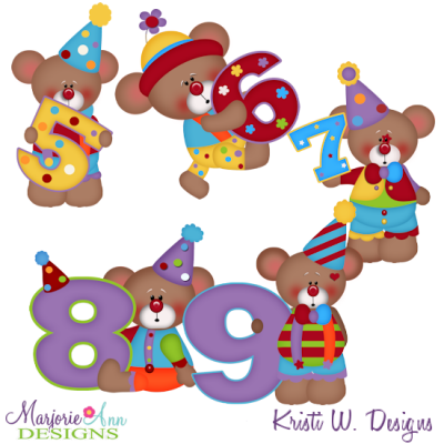 Clowning Around Bears 5-9 SVG Cutting Files Includes Clipart